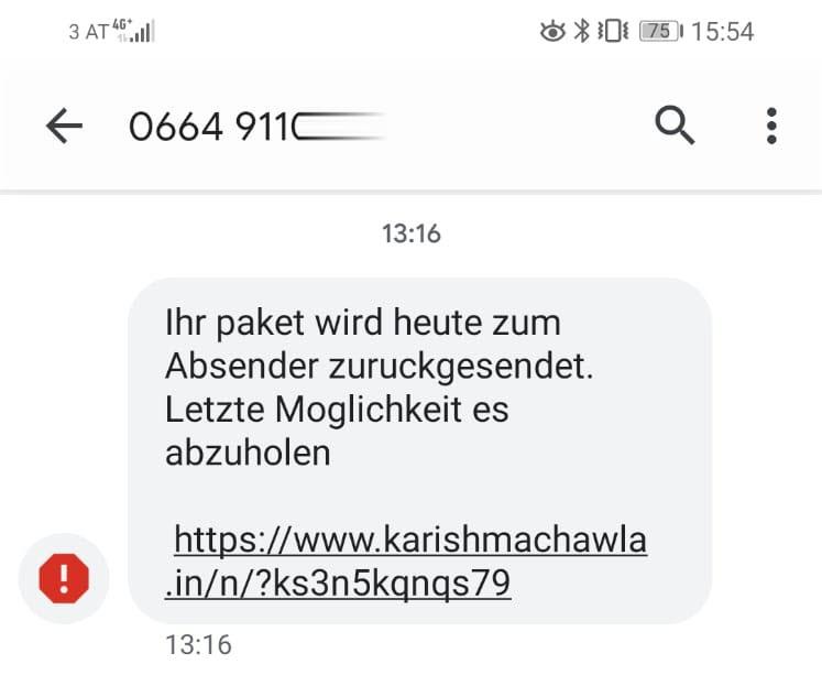 Neue Infos zum Absender - Gefährliche SMS mit Link