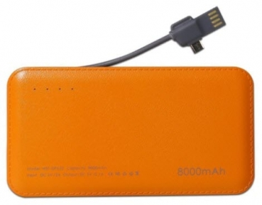 Powerbank Vennus DP612 8000mAh mit Lightning und Micro-USB orange